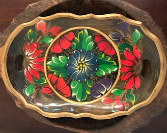 Vintage Wooden Large Hand Painted Dresser or Serving Tray with Bright Floral Pattern
