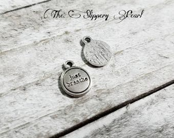 Quote Charms JUST BREATHE Charms Silver Word Charms Message Charms Tag Charms Meditation Charms