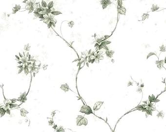 Green Ivy Vintage Wallpaper Floral Vines White Faux Finish FAM66231 2 Double Rolls