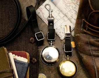 Steampunk Compass , Travel Accessories , Nautical , Travel Gifts , Steampunk Men ,Travel , Silver Compass , Compass , Leather Keychain