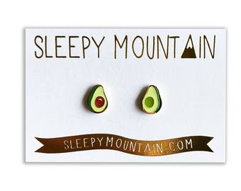 Avocado Earrings - Gold Plated Sleepy Mountain Studs