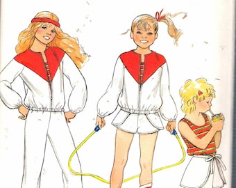 """Vintage 1982 Butterick 4417 Girl's Jacket, Top, Pants & Shorts Athletic Wear Sewing Pattern Size 12 Breast 30"""""""