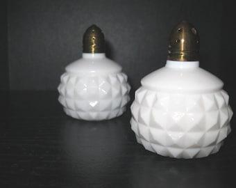 Vintage Diamond Cut Milk Glass Salt and Pepper Shakers