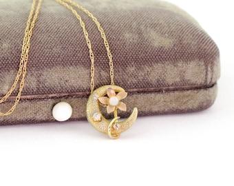 Petite Antique 10k Gold Moon Flower Pendant   Gold Crescent Moon Pendant   Crescent Moon 10k Antique Pendant
