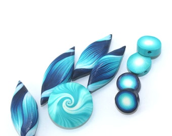 Polymer Clay beads, swirl lentil bead and leaf shaped beads in blue, turquoise and white, unique pattern, elegant set of 9 beads