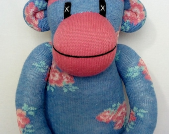 Shabby Chic Floral Sock Monkey with pin striped pom pom hat