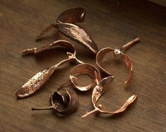 Real mistletoe copper electroformed, electroforming, botanical jewelry, leaf necklace, boho pendant, electroform jewellery, electroplated