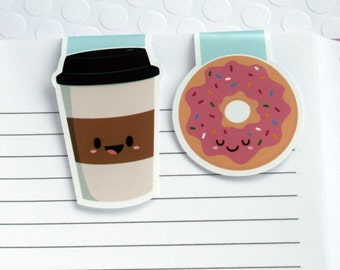 Coffee and Donut Magnetic Bookmarks, Set of 2 Colorful Kawaii Paper Clips for Planners or Cookbooks, Page Markers for Books and Reading
