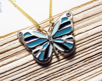 Gold and Enamel Butterfly Necklace