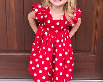 Red and White Polka Dot Minnie Mouse dress Saige Dress