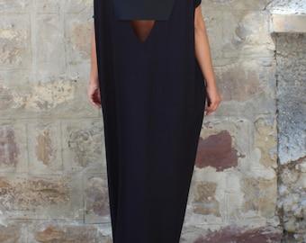Caftan Black Dress, Oversized dress, Backless dress, Maxi dress, Black dress, Sleeveless dress , Open back dress
