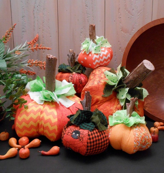 PDF E- Pattern Harvest Pumpkins Fall Decor Folk Art Raggedy Cloth Sewing Craft