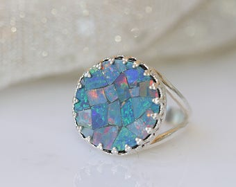 GENUINE AUSTRALIAN OPAL Ring, Gift For Woman, Mosaic Opal Ring, Sterling Silver 925 Opal Jewelry, Birthstone Ring, Blue Opal, Gemstone Ring,
