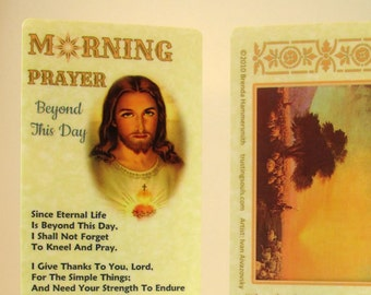 Morning Prayer Bookmark/Prayer Card with Silver Lamb Charm~Christian Bible Bookmark~Nurse, Caregiver, Friend or Teacher Gift~Trusting Jesus
