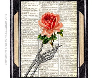 SKELETON HAND with Pink Rose art print wall decor True Love Never Dies Wedding Anniversary Valentine vintage dictionary book page 8x10, 5x7
