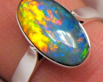 2.2g Free Size 7 Natural Australian Gem Opal Inlay Silver Ring Gift Jewelry #701