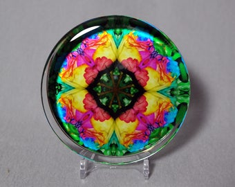Rainbow Rose Glass Paperweight  Boho Chic Mandala New Age Sacred Geometry Hippie Kaleidoscope Unique Boss Gift Teacher Gift Ornate Opus