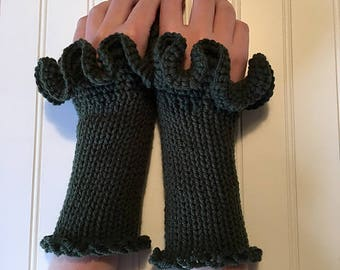 Vegan Kale Fingerless Gloves in Deep Forest Green with Curly Ruffle Top