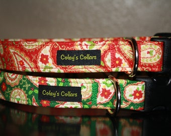 """Christmas Dog Collar """"The Christmas Paisley"""""""