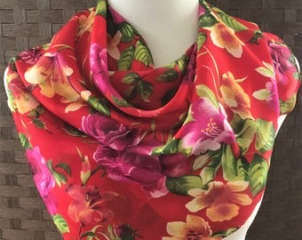 Flowered Vintage Scarf, Square Scarf, Large Square Scarf, Vintage Accessories, Women's Scarf