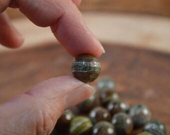 Tibetan Dzi Beads, Green Agate Beads, 12mm Beads, Faceted Beads, Large Beads, 30 Beads, Round Beads, Beads for Jewelry Making