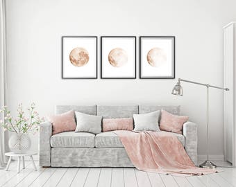 Moon phases wall art Moon wall decor Set of 3 Moon phases print Celestial art Soft pink Travel gift Poster Wedding party ArtPrintsByChrista