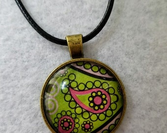 Colorful Paisley Pendant