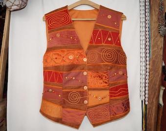 Orange waistcoat, emroidered waistcoat, bohemian waistcoat, festival waistcoat, hungarian folk waistcoat, hippie waistcoat, boho waistcoat
