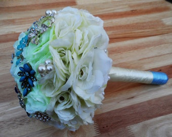 Wedding Brooch Bouquet Ivory and Blue SALE