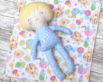 "18"" Sleepy Time Pajama Baby Boy Doll - Soft Fabric Doll - Pretend Play"