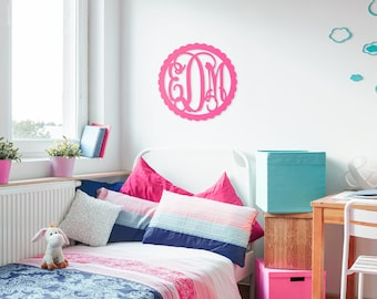 Large wood monogram, Monogram Dorm Decor, Scallop Framed Monogram, Wooden Wall Monogram, Personalized Nursery Decor, Monogram Home Decor
