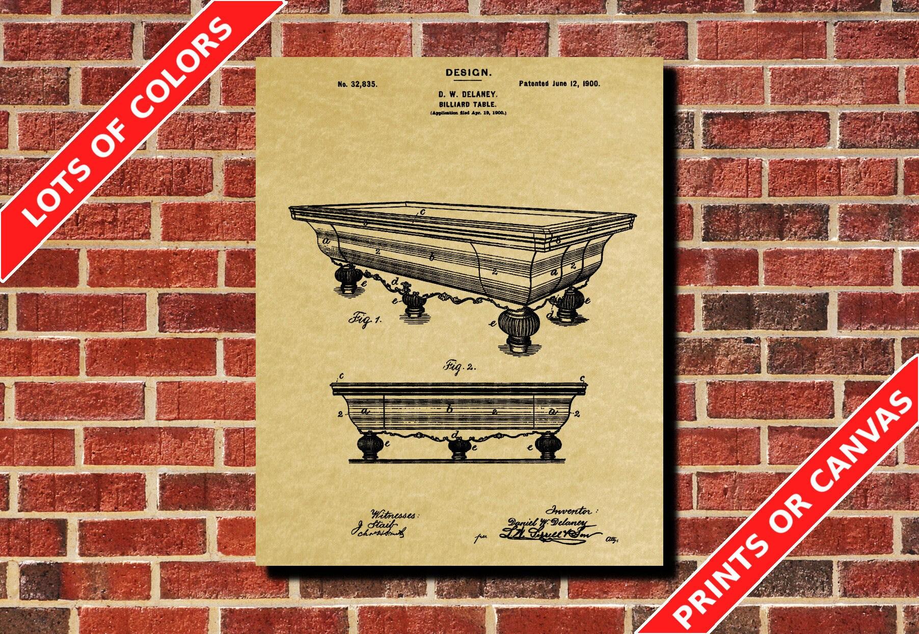 Billiard Table Blueprint Billiards Patent Poster Billiards