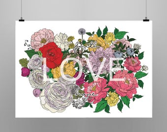 Faith Hope Love ~ Floral Flower Colour Ilustration ~ Art & Design Print