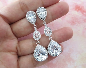 Caissie - Silver Luxe Cubic Zirconia Teardrop Earring - bridal shower gifts, wedding bridal brides bridesmaid vintage earrings