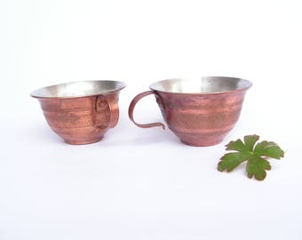 Vintage Copper Cups, Set of 2 Turkish metal coffee cups, Hand made copper cups,  Copper cups with handle, Antique copper