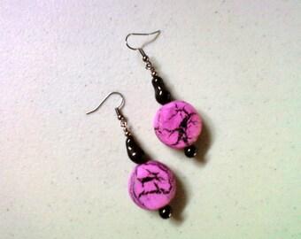 Fuschia and Black Earrings (1472)