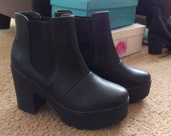 Black Faux leather Heel Boots (size 8)