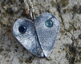 Your Own Custom Silver Double Fingerprint Heart - with Birthstones and Sterling Chain