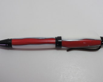 pen, ballpoint, acrylic, black chrome