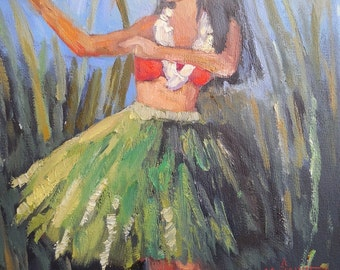 Figurative Art Print, Hula Girl Art Print, Free Shipping, Hula Dancer by Carol Schiff, choose your size, ready to hang, no frame needed