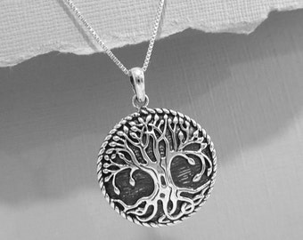 Oxidized Sterling Silver Tree of Life Necklace, Tree of Life Pendant on Rhodium Plated Sterling Silver Necklace Chain, Gift For Mom