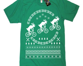 Reindeers On Bikes Tee Shirt Funny Ugly Christmas Sweater T Shirt Funny Bicycle Tee Funny Tees Bike Shirt Moon Space Christmas Present Gift