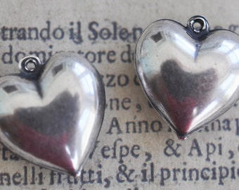 TWO Puffy Heart Charms, Sterling Silver Finish, Brass Stampings Made in the USA, Pendants, Jewelry Supplies, Crafting