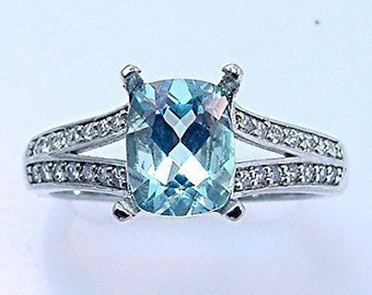 AAAA Natural Blue Aquamarine   9x7mm  1.91 Carats   in 14K white gold diamond (.30ct) Engagement ring 0702 MMMM