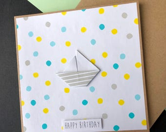 Happy Birthday Card - White Stripe Boat, Blue, Boy, For Him, Dots