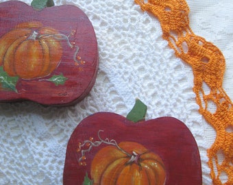 Decorative Pumpkins Painted on Wood with Doily,  Rustic Home, Country Decor, Harvest, Harvest Table, Supplies, by mailordervintage on etsy