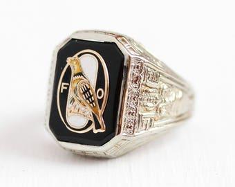 Sale - Antique Onyx Ring - Vintage 10k White Gold 1920s Men's Size 10 Black Signet - Fraternal Order of Orioles Enamel FOO Statement Jewelry