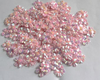 100 Glossy / Rainbow Effect/  Light Pink Color /Flower sequins/ Code KBSF670