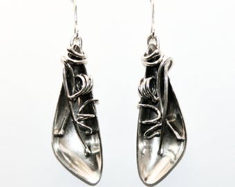 Wings Found sterling & Argentium silver earrings, made-to-order