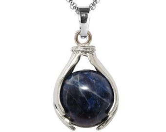 Pendant hand held silver plated - sodalite